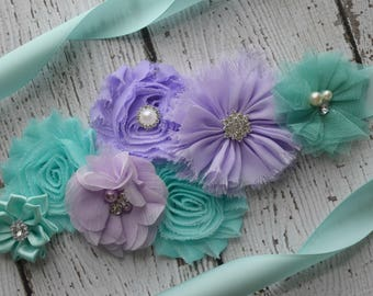 Aqua violet  Sash , flower Belt, maternity sash, wedding sash, flower girl sash, maternity sash belt