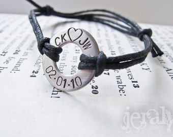 Hand Stamped Washer Bracelet Cuff - Stainless Steel with Black Cord - Perfect Gift for Men, Father, Dad, Husband