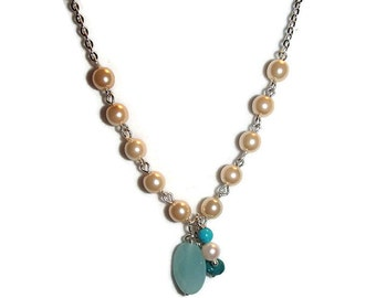 Pearl Chain and Bead Soup Necklace N133