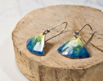 Colorful  earrings, Glass enamel, Handmade Drop Dangle Earrings
