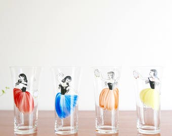 4 French glass : Flamenco dancers , 1960s / vintage, kitchen, spain, dress, pin up, woman, dancing, music, musician, colorful, serving