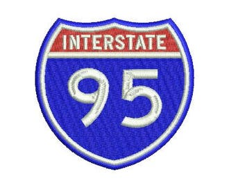 interstate 95 embroidery design