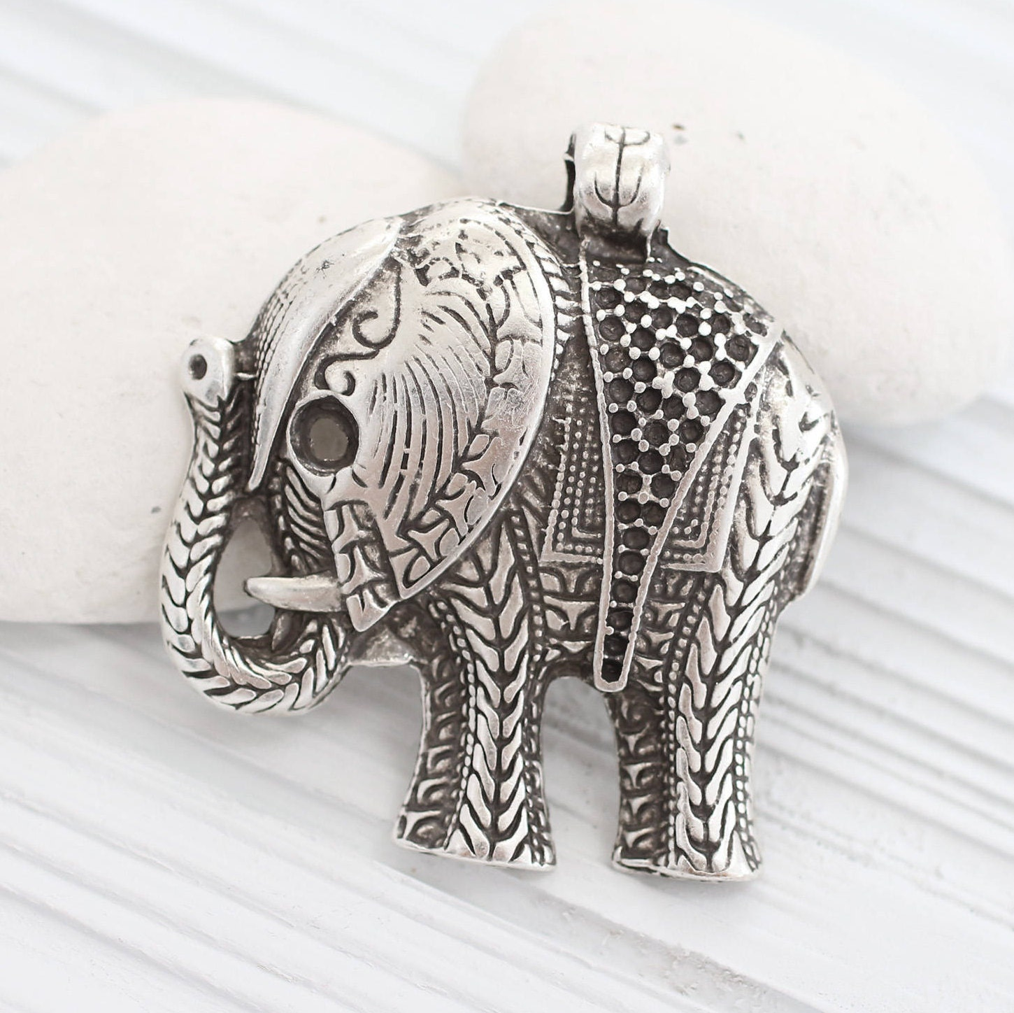 elephant necklace silver large charm pin jewelry personalized