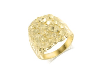 10K Solid Yellow Gold Nugget Ring - Round Diamond Cut Polished Finger Band
