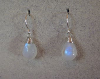 Moonstone Earrings - June Birthstone - Sterling Silver