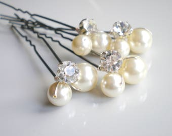 Bridal IVORY Pearl Rhinestone Hair Pins. Elegant Wedding Pearl Hair Pins. Large Swarovski Pearls. Bridal Hair Jewelry. Chic  Prom. Bridal