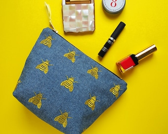 Queen Bee Embroidered Denim Make Up Bag - Bumble Bee Bag - Gold Bee Bag