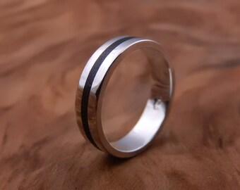 Jupiter - Sterling Silver Ring with Volcanic Ash Inlay