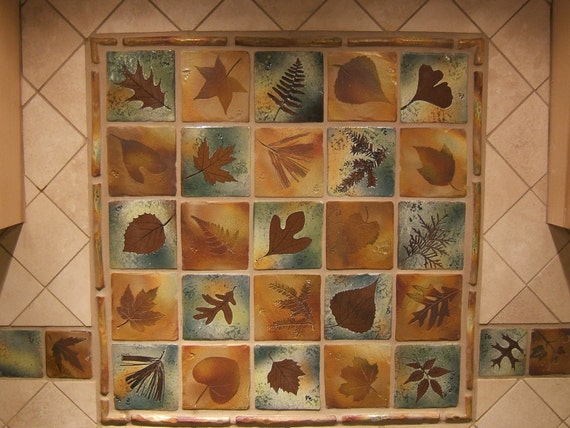 backsplash tiles rustic decor nature themed botanical 4 inch