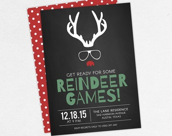 Adult Christmas Party Invitations, Funny Christmas Party Invitations, Reindeer Games Invitations, Funny Holiday Party Invitations, PDF, DIY