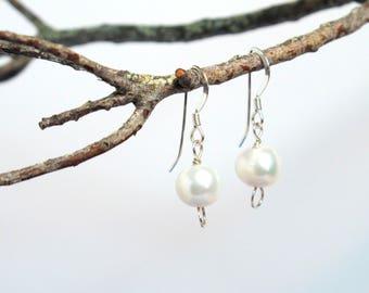Single Drop Lustrous Pearl & Sterling Silver Earrings