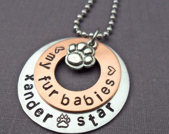 Pet Love Necklace Love My Fur Babies - Dog Lover Gift - Personalized Cat Lover Gift - Custom Pet Name - Dog Mom Gift - Cat Mom Gift -  P4