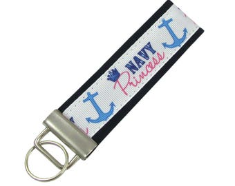 Personalized Key Chain / Key Fob Navy Princess with Optional Initials