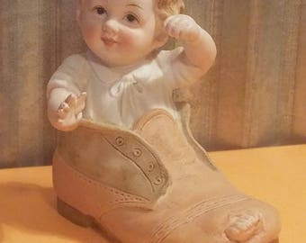 LEFTON Hand Painted BISQUE PORCELAIN Baby Boy in Shoe Figurine KW7678, c. 1950's Piano Baby