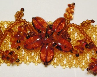 Baltic Amber Beaded Floral Bracelet (Amber#A-3)