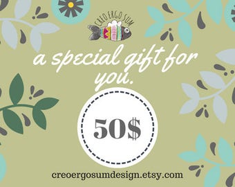 Gift Voucher 50 Dollars, Gift card to be spent in amigurumi, wooden accessories, home decor, last minute gift, Gift Certificate