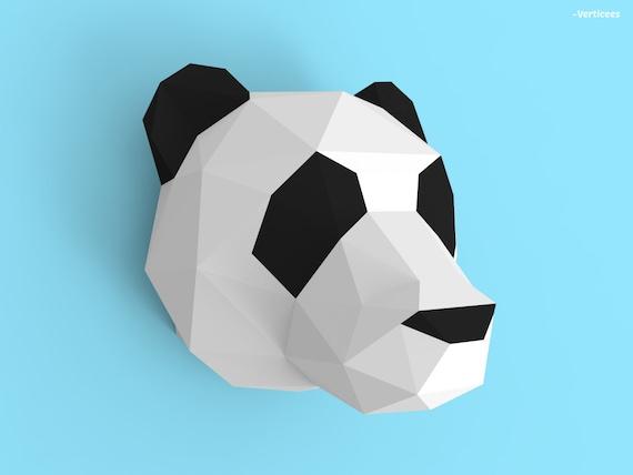 Panda Head Papercraft PDF Pack 3D Paper Sculpture Template