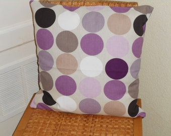 Spotted pillow cover, 18 x 18 pillow, spotted cushion cover, gemetric, purple spots, purple cushion, spotted pillow
