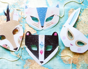 Pastel Animal Paper Mask Set, Woodland Forest Party and Wedding Favors
