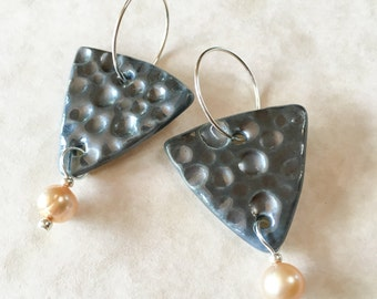 Pewter Glazed Porcelain Triangle Earrings with Freshwater Pearls-As Seen on TV Show BrainDead-Handmade Porcelain and Pearl Earrings-Triangle