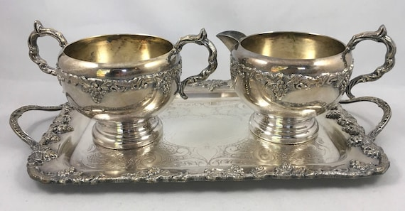 & Old English Reproduction Silver Plated Cream Sugar and Tray
