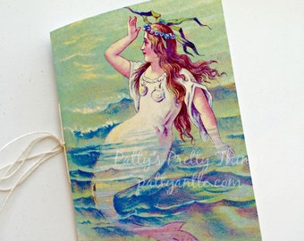 Mermaid Journal, Vacation Journal, Sea Journal, Vintage Reproduction Mermaid Journal, Vintage Journal, Birthday Journal, Travel Journal