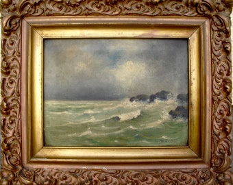 Original Antique Hudson River American Seascape Oil Painting Alfred Bricher