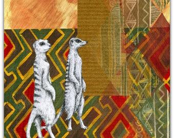 Africa original greeting card - handmade 15cm x 15cm
