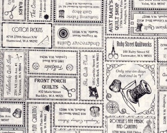 In the Beginning Fabrics, 2017 Western Washington Shop Hop Fabric, Newspaper Print, 100% cotton