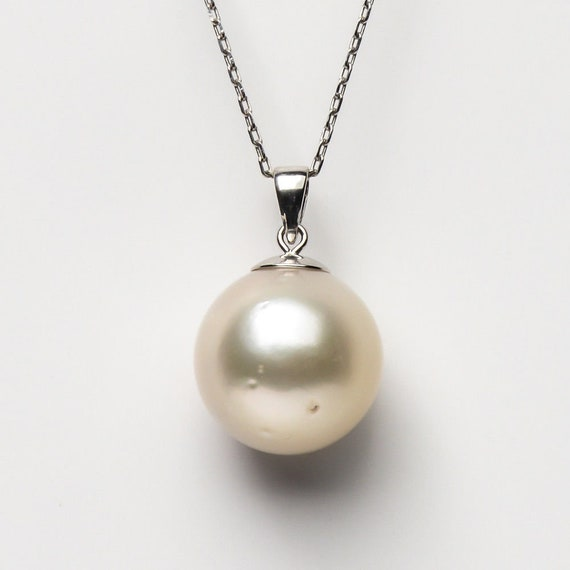 Beautiful White Genuine South Sea Cultured 13mm Pearl Pendant 925 Sterling Silver