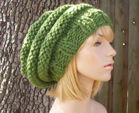 Green Womens Hat Slouchy Beanie - Oversized Beehive Beret Hat Grass Green Knit Hat - Green Hat Green Beret Green Beanie Womens Accessories