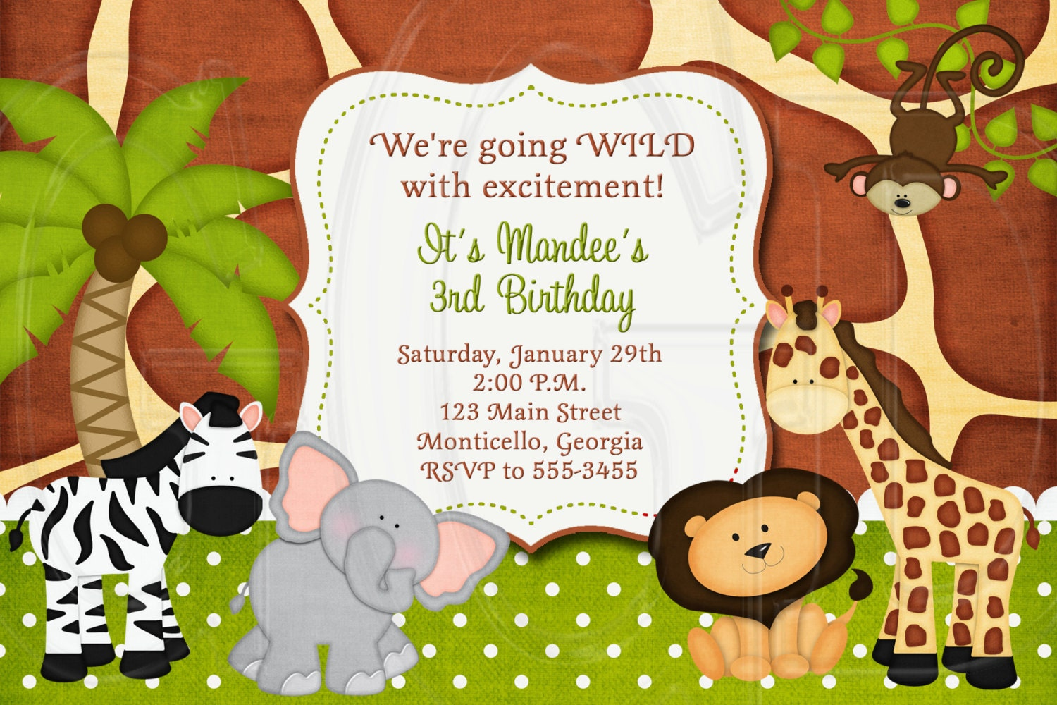 Jungle Zoo Safari Birthday Invitation or Baby Shower