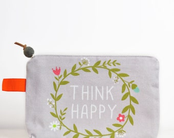 Think happy zipper cosmetic pouch