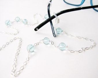 Light Blue Eyeglass Chain, Sterling Silver Reading Glasses Holder, Light Blue Faceted Glass Aqua Quartz Sunglasses Chain, Handmade, Water