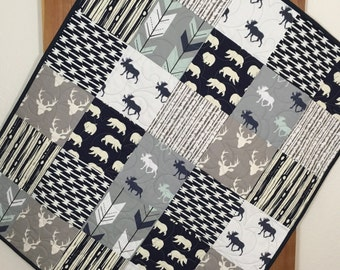 Rustic Baby Quilt, Woodland Baby Quilt, Moose, Deer, Arrows, Bears, Grey, Navy, Rustic Nursery, Woodland Crib Bedding, Q 16