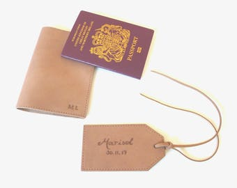 Set of Passport Holder and Luggage Tag, Tan