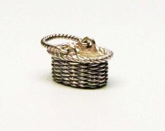 FLOWER GIRL GIFT, Flower Basket, Flower Girl, Basket Charm, Sterling Silver, Baskets, Charms, Basket Necklace, Charm Bracelet, Gift for Her