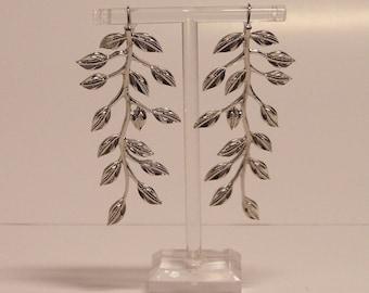 Long Silver Branch Earrings