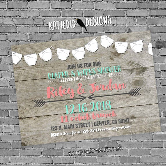 two moms baby shower | two dads | baby sprinkle invitation girl | tribal arrows invite | mint coral | diapers for dad | 1417 Katiedid Cards