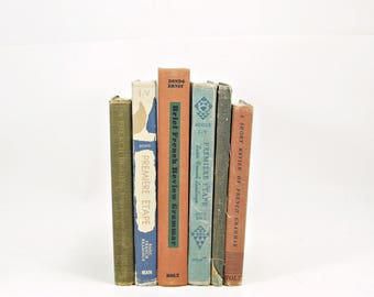 FRENCH Antique Books, Old Schoolbooks, Green BOok Stack, BLue  Decorative Books, Book Collection, BOok Gift, Bronze Book Decor, BOok Set