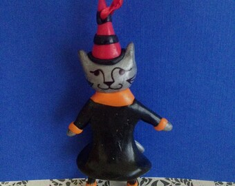 Witch Cat  Halloween Ornament with Striped Hat and Black Dress. Vintage Inspired, Primitive Cat Ornament