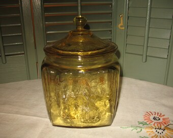 Amber depression glass cookie jar. Jar, storage jars.