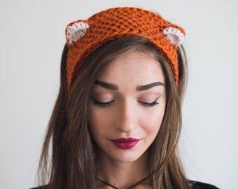 Knitted winter headband Cat hat Fox Ear warmer Red Orange Kitty ears Halloween costume wool head wrap fashion turban Women's Earmuff gift