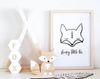 Sleepy fox - printable wall art print - kids room fox print - Instant digital download kids rooms - Baby nursery poster - Monochrome
