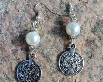 Silver & Ivory Glass Pearl and Coin Style dangle drop earrings on earring wire, Perfect Gift!