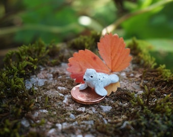 Miniature seal baby, baby nerpa, baby seal, clay seal figurine, tiny seal