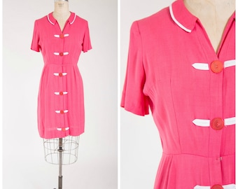 Vintage 1950s Dress • Colors of June • Fuchsia Pink Linen 50s Vintage Shirtwaist Dress Size Medium