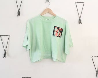 90's Cropped Neon Surfer Top