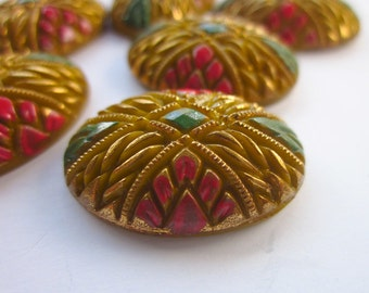 6 Vintage Cabochons, Yellow-Brown Glass, Hand-painted Designs, 24mm x 18mm Domed Oval