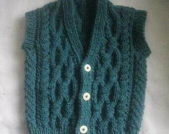 Padraic baby/toddler aran waistcoat PDF knitting pattern